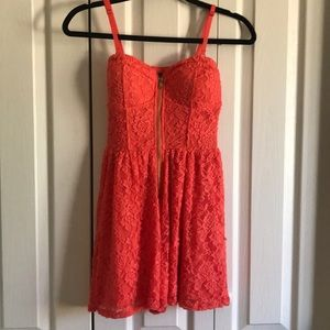 Orange lace romper dress
